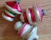 Three Glass Top-shaped Shiny Brite Glass Christmas Ornaments