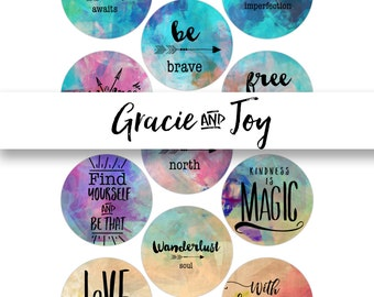 Boho- 30 mm -Digital Collage Sheet- Cabochon- Instant download- hand lettered, magnets, buttons, Gracie and Joy