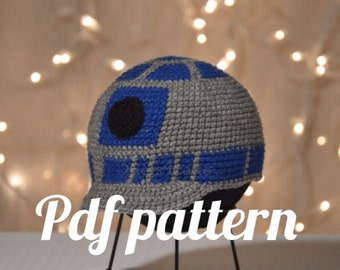 R2D2 Beanie with Bill Crochet Pattern