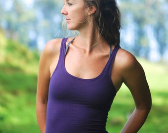 Yoga Layering Tank Top for Women - Purple - Eco Friendly - Fitted - Organic Clothing