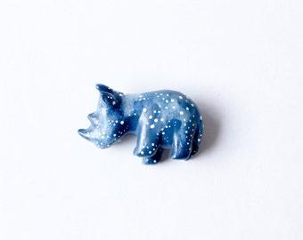 Stary Rhino Brooch, Clay Rhinoceros Pin, Galaxy, Solar, Constellation