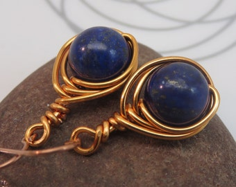 Lapis lazuli earrings - copper wire wrapped gemstone earrings - blue earrings - wire wrap earrings - something blue - bright copper