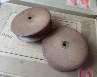 Old french wooden bobbin spool
