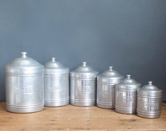 vintage 6 french white metal aluminium canisters containers
