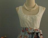 SALE White lace dress blue dress floral dress blue floral dress blue bridesmaid dresses floral bridesmaid dresses blue party dress