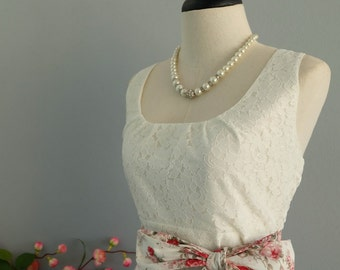 My lady - Spring Summer Sundress White Lace Top Red/White Floral Skirt Floral Party Dress Red White Floral Bridesmaid Dress Tea Dress XS-XL