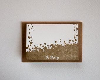 Letter Press Mini Card - Be Merry