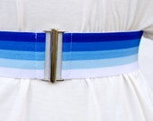 Blue ombre elastic cinch belt, soft blue waist belt for dresses, regular and plus size belts available
