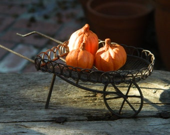 Fairy Garden Miniature Accessories Scalloped Edge Wheelbarrow filled with Pumpkins Autumn miniatures Halloween Miniatures
