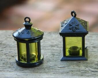 Fairy Garden Lantern  Miniature Garden Supply Craft Supply  Miniature Black Plastic Carriage Lantern