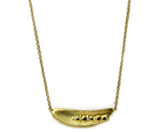 BANAU gold plated silver necklace with sapphires. Original necklace, statement necklace, pendant, gift, handcrafted, designer