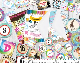 Birthday Party Decorations, Party for 12-15, Printed & Shipped by Cutie Putti Paperie