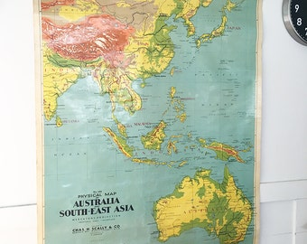 Map   Vintage Map   School Map   World Map   Australia Map   Wall Art   Wall Decor   Large Map   Housewarming Gift   Asia Map   Gift for him