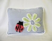 Children's Accent Pillow with Vintage Appeal in Green and White Chenille Flower with Ladybug in Blue Check - Cottage Shabby Chic