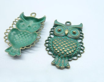 5pcs 33x45mm Owl Rustic Charms, Bronze with Green Patina Owl Rustic Patina Charms Pendant c8163
