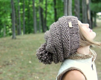 Knit Slouch Pom Pom Hat Cap [Strive] Custom Made to Order Brown