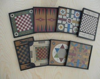 8, MINIATURE, Wood, Game Boards, Series 1, Folk Art, Miniature, Limited Edition, Hand Painted, Salesman Samples, Chess, Checkers,