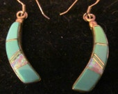 SUMMERSALE  Vintage Native American Turquoise Dangle Earrings with Opal Highlights