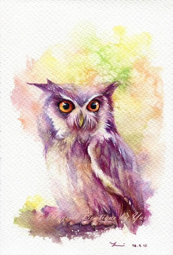 "PRINT –Owl Watercolor painting 7.5 x 11"""