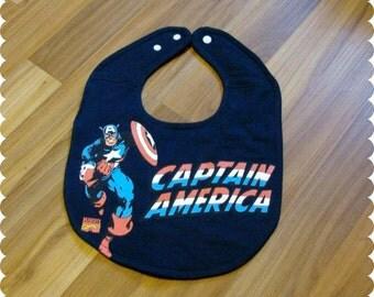 Superhero Captain America Baby Bib, Recycled T-Shirt Baby Bib, Baby Shower Baby Boy Gift, Superhero Baby
