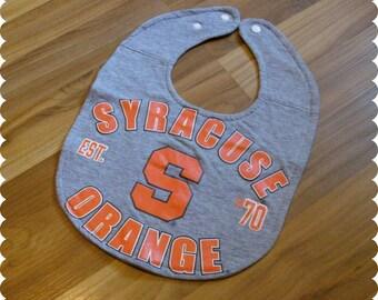 Syracuse Orange Baby Bib, Recycled T-Shirt Baby Bib, Syracuse New York, Syracuse University, Sports Baby, Gender Neutral Baby Shower Gift