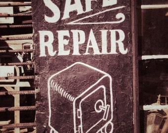 Industrial Decor, Safe Repair Old Painted Ad Print, Office Wall Art