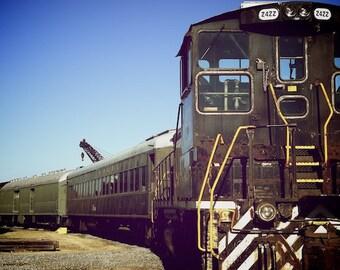 Urban Art, Train Photograph, Train Depot Art, Playroom Art