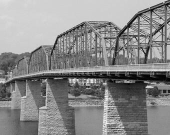 Black and White Photo, Bridge Photograph, Steel Bridge Print Industrial Decor, Chattanooga