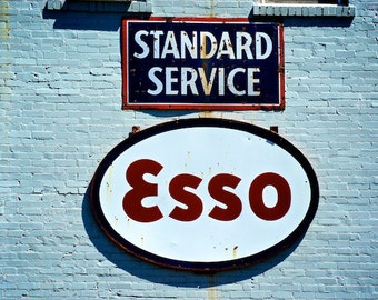 Old Gas Station Photo, Esso Service Station, Industrial Wall Decor