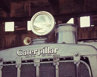 Kids Train Art, Caterpillar Train Art, Vintage Industrial Decor