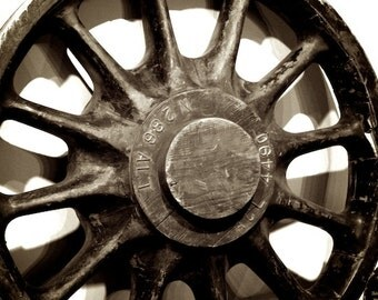 Rustic Industrial Wall Decor, Train Wheel Photo, Train Themed Decor