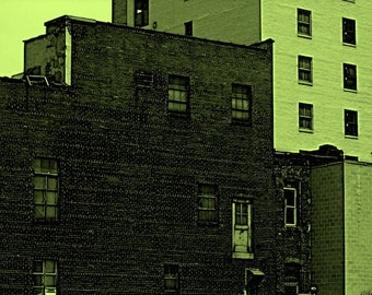 Urban Industrial Pop Art Brick Building, Large Print