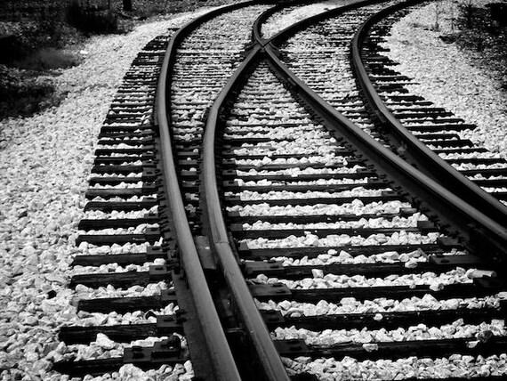 Train Tracks Photo, Black and White Photo, Industrial Decor