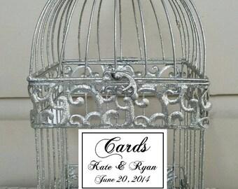 Glitter Silver Birdcage -Wedding Card Holder