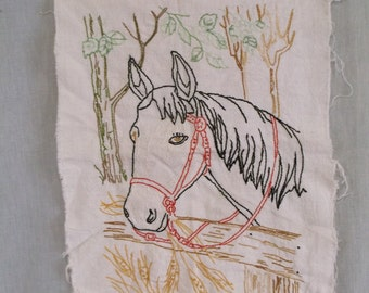 Hand Embroidered Horse Panel, Fences, Trees, Woven Cotton