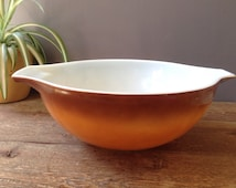 Vintage Pyrex Old Orchard 444 4 QT Large Mixing Bowl / Golden Ombre