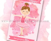 Ballerina Watercolor Valentine DIY Printable File