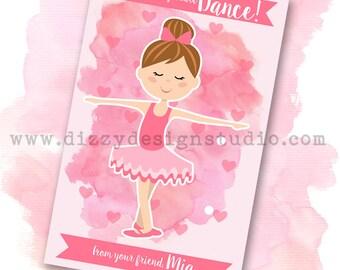 Ballerina Watercolor Valentine DIY Printable File