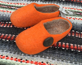 Hand made Felted Wool Slippers in Orange with Gray inside. Size EU 42 ready to ship.