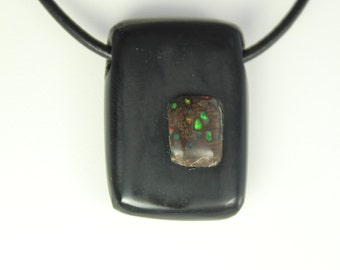 Black Guatemalan Jade & Virgin Valley Opal Pendant