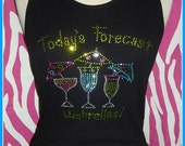Todays forecast umbrelllas Vacation TSHIRT OR TANK top Margarita shirt Rhinestone Shirt s m l xl 2x 3x Tropical Drinks Vacation Girls Cruise