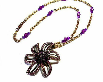 SALE Beautiful Crystal Rhinestone Bejeweled Deep Purple Gem Flower Pendant Beaded Bronze Chainlink Necklace/Doubles as Brooch FREE SHIPPING