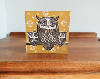 Christmas Linocut Card, Owls, Original Hand Printed Card, Blank Greeting Card, Brown Kraft Card,