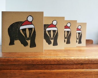 Linocut Cards Set of 4, Christmas Cards, Badger, Woodland Animal, Original Hand Printed Cards, Brown Kraft Cards, Free Postage in UK,