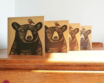 Linocut Cards Set of 4, Bear, Robin, Original Hand Printed Cards, Blank Greeting Cards, Brown Kraft Cards, Free Postage in UK,