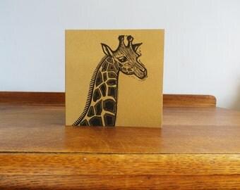 Girraffe, Woodland Animal, Original Hand Printed Card, Linocut Card, Blank Greeting Card, Brown Kraft Card, Free Postage in UK,