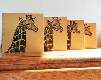 Linocut Cards Set of 4, Giraffe, Original Hand Printed Cards, Blank Greeting Cards, Brown Kraft Cards, Free Postage in UK,