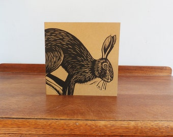 Hare, Woodland Animal, Original Hand Printed Card, Linocut Card, Blank Greeting Card, Brown Kraft Card, Free Postage in UK,