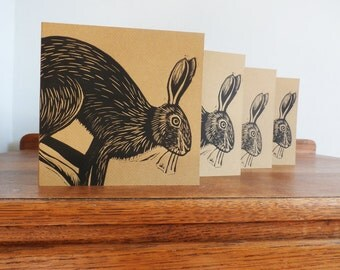 Linocut Cards Set of 4, Hare, Woodland Animal, Original Hand Printed Cards, Blank Greeting Cards, Brown Kraft Cards, Free Postage in UK,