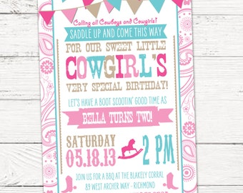 Rhinestone Cowgirl Birthday Invitation - Yee Haw Rodeo - PRINTABLE or Printed Invitations